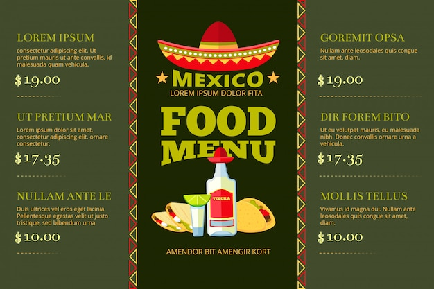 Mexican cuisine food restaurant menu vector template Premium Vector