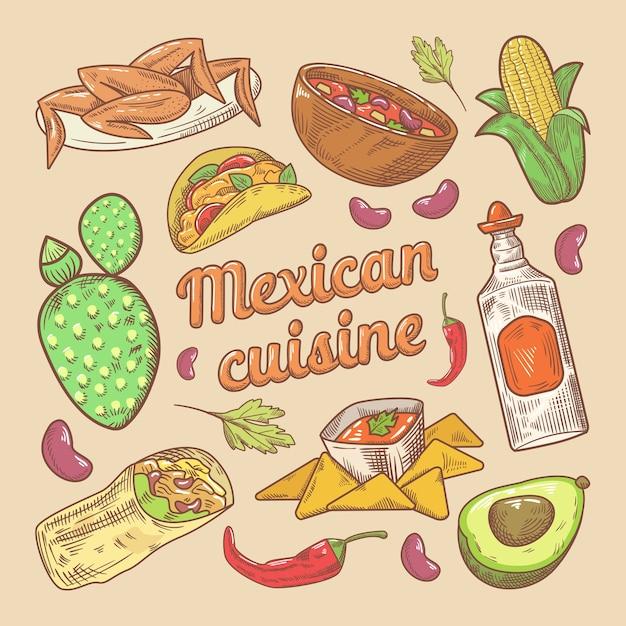 メキシコ料理伝統的な食べ物タコスとナチョスの手描き落書き Premiumベクター