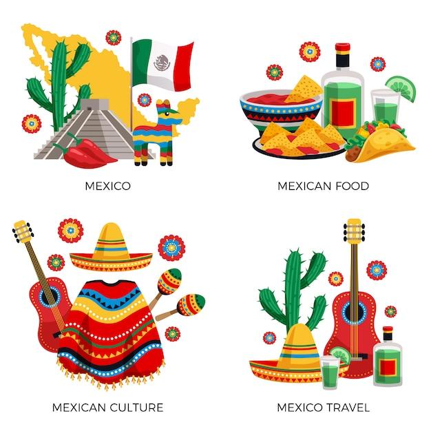 Культурные традиции мексиканской кухни, красочная концепция с кактусовой гитарой, пончо, текила, тако Бесплатные векторы