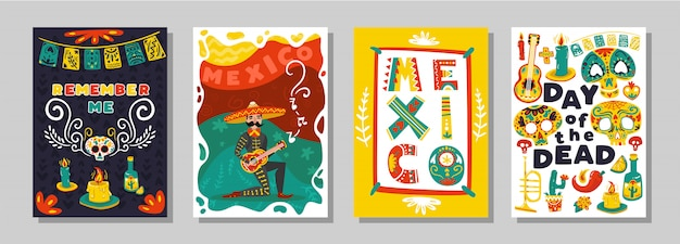 Mexican day dead 4 colorful ornamental  posters set with traditional symbolic attributes skull masks isolated vector illustration Free Vector