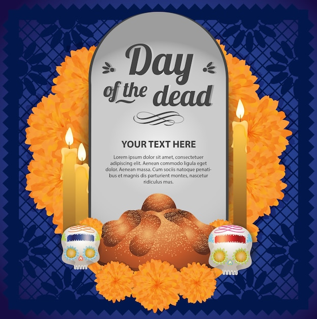 Mexican day of the dead altar - copy space template Premium Vector