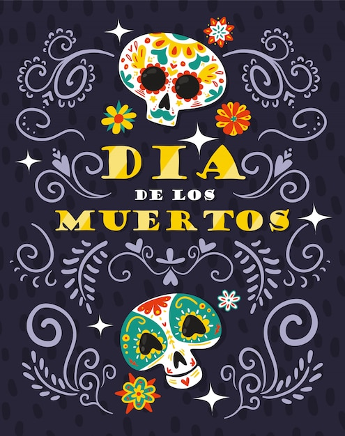 Mexican day dead celebration floral ornamental illustration with skull Free Vector