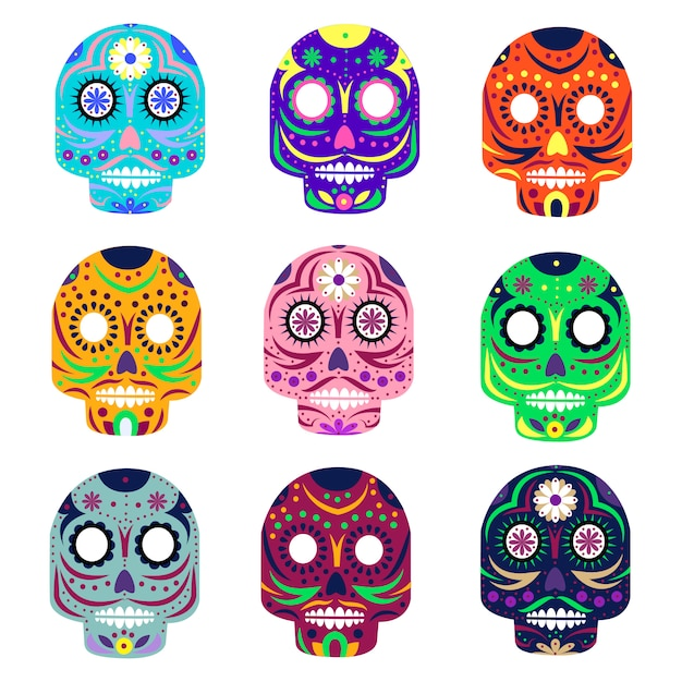Mexican day of the dead concept vector illustration Premium Vector