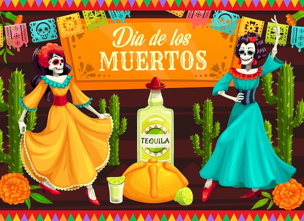 Mexican day of the dead dancing catrina skeletons.  dia de los muertos skeleton dancers with calavera skulls, cactuses and marigold flowers, tequila, lime and bread, decorated with papel picado Premium Vector