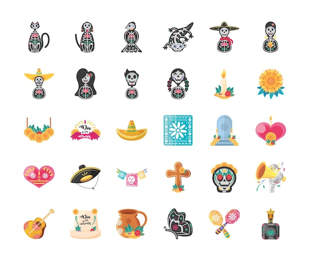 Mexican day of dead detailed style 30 icon set design, mexico culture Premium Vector