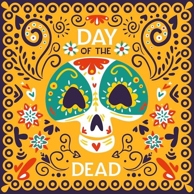 Giorno messicano dell'illustrazione ornamentale gialla dorata luminosa di celebrazione morta di festa con l'illustrazione di vettore dell'estratto della maschera del cranio Vettore gratuito