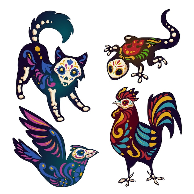 Mexican day of dead illustration set with animals skeletons Free Vector