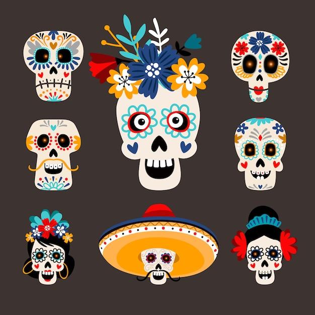 メキシコの死んだ砂糖の頭。 Premiumベクター