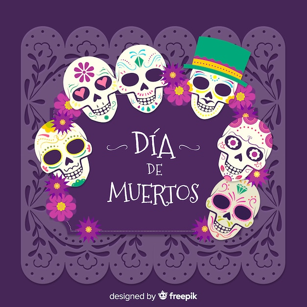 Mexican dia de los muertos skull background Free Vector