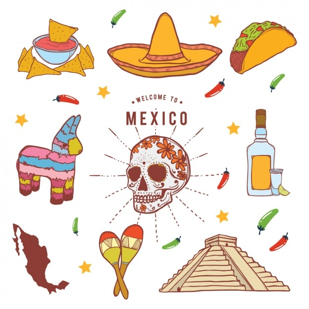 Mexican elements collection Free Vector