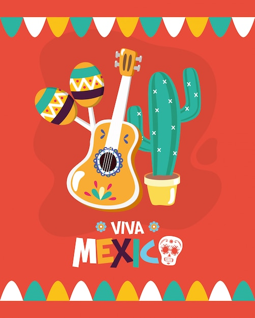 Mexican elements for viva mexico Free Vector