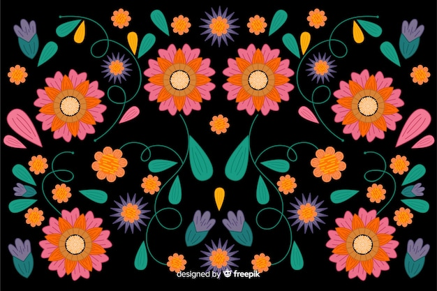 Mexican embroidery floral background Free Vector