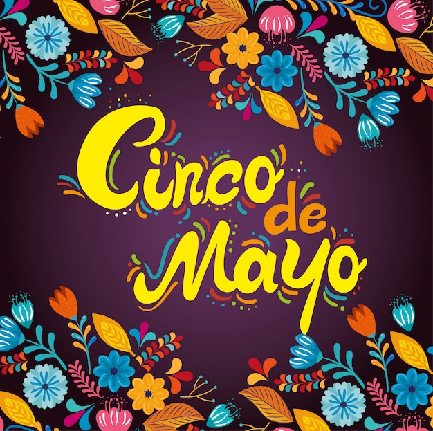 Mexican event with flowers plants decoration Free Vector