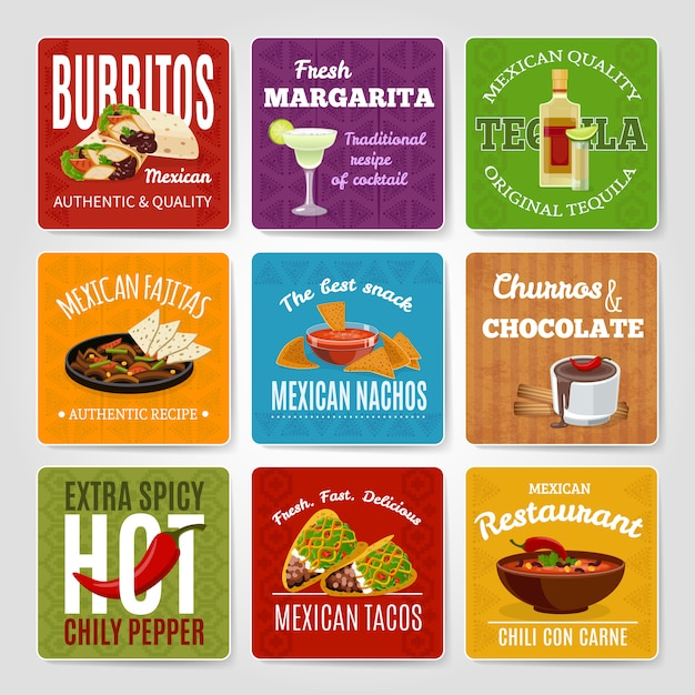 Mexican famous chili con carne and fajitas snack authentic food recipes labels set Free Vector