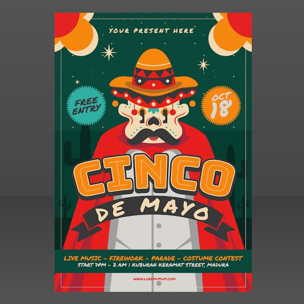 Mexican festival poster template Premium Vector
