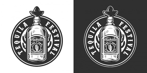 Mexican festival vintage round label Free Vector