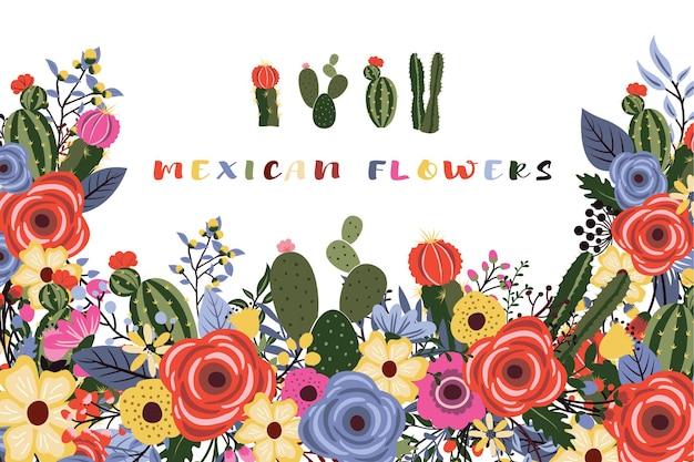 サボテンのデザインとメキシコのフィエスタの花 Premiumベクター