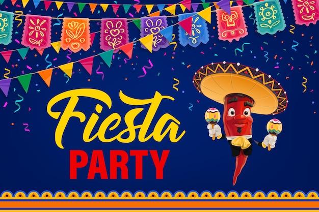 メキシコのフィエスタパーティーのポスター。漫画ペッパーマリアッチキャラクターメキシコのミュージシャン、ソンブレロと民族衣装でマラカスを演奏。旗の花輪と花火でシンコデマヨイベントへの招待 Premiumベクター