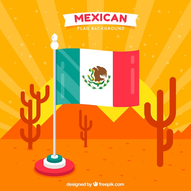 Mexican flag background with desert\ landspace