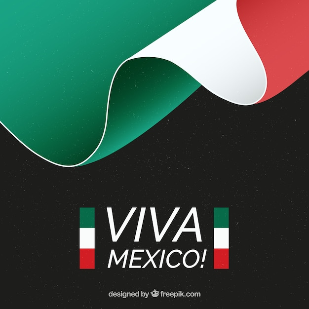 Mexican flag background with viva mexico text Free Vector