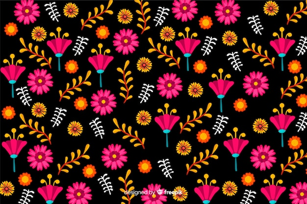 Mexican floral background Free Vector