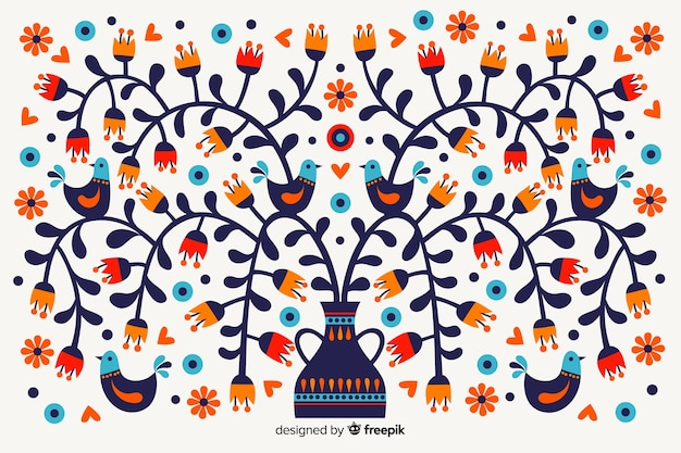 Mexican floral embroidery background Free Vector