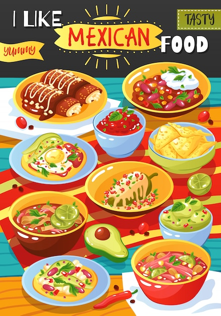 Mexican food ad poster Free Vector