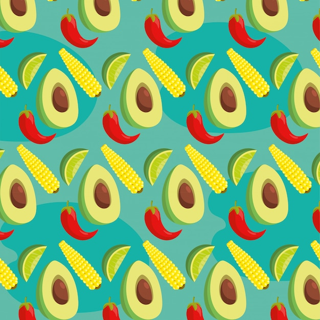 Mexican food and avocado with cob and lemon background Premium Vector