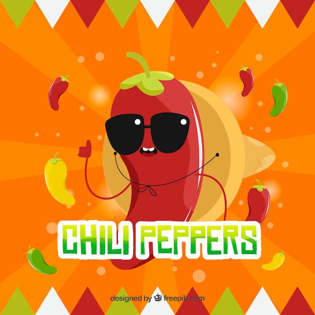Mexican food background with chili Free Vector