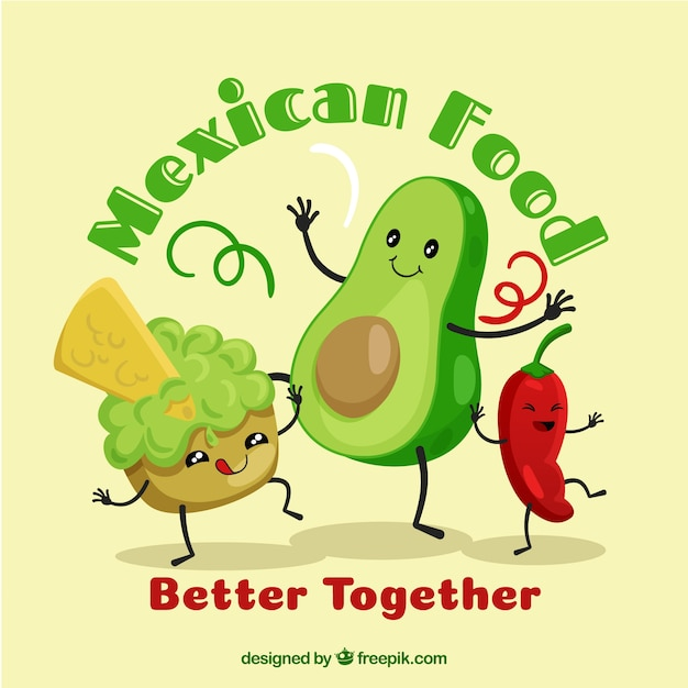 Mexican food background with guacamole Free Vector