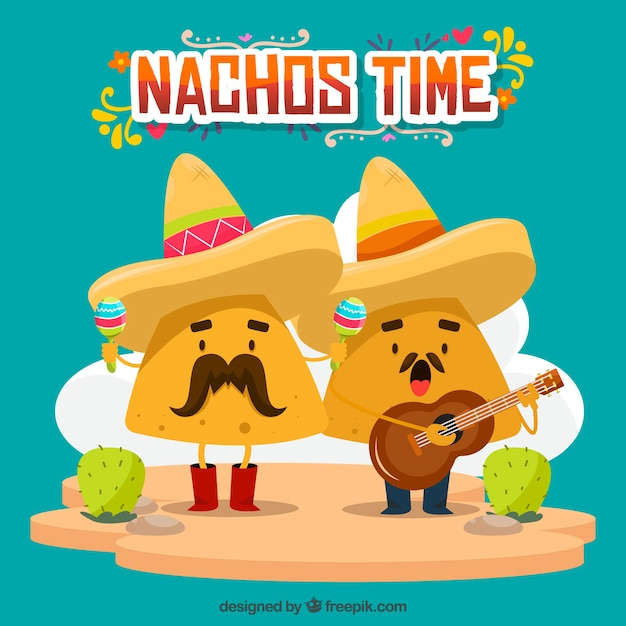 Mexican food background with singing nachos Free Vector