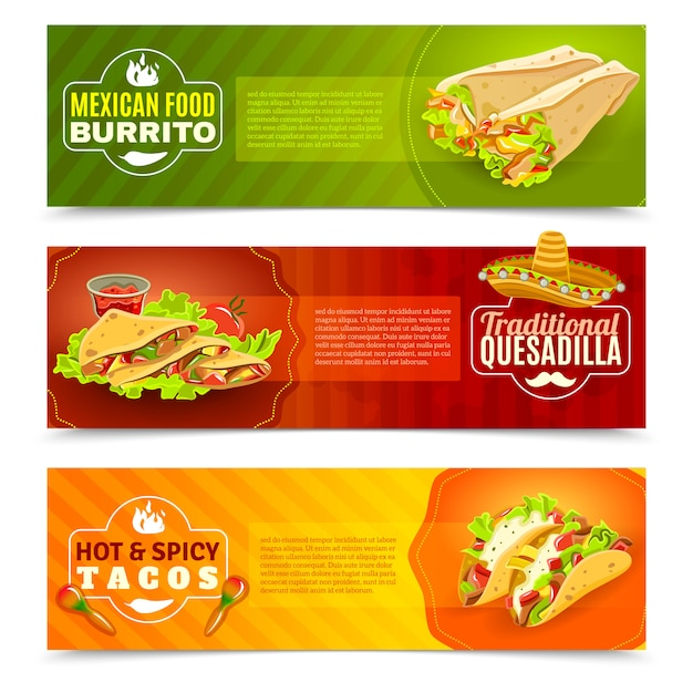 Mexican Food Banner Set Free Vector