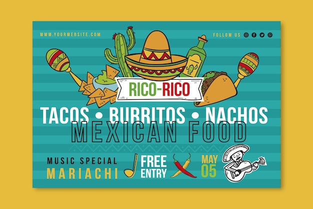 Mexican food banner template Free Vector