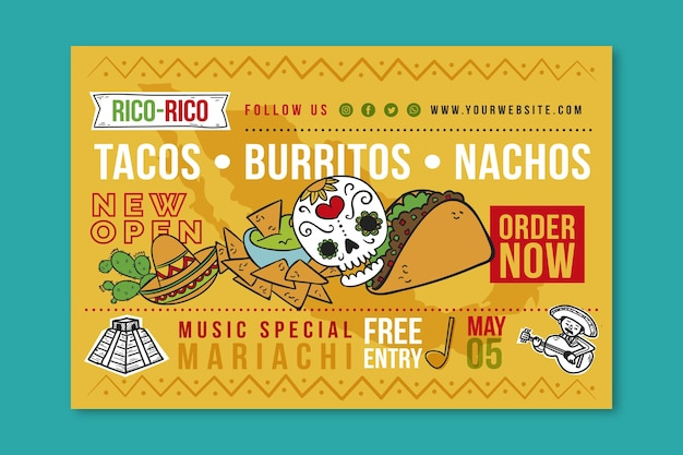 Mexican food banner Free Vector