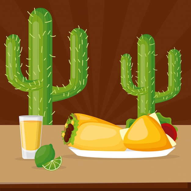 Mexican food and beverage with cactus and brown Free Vector