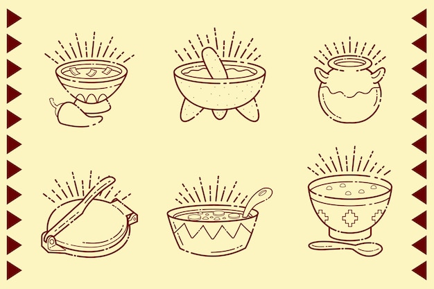 Mexican food in bowls isolated Free Vector