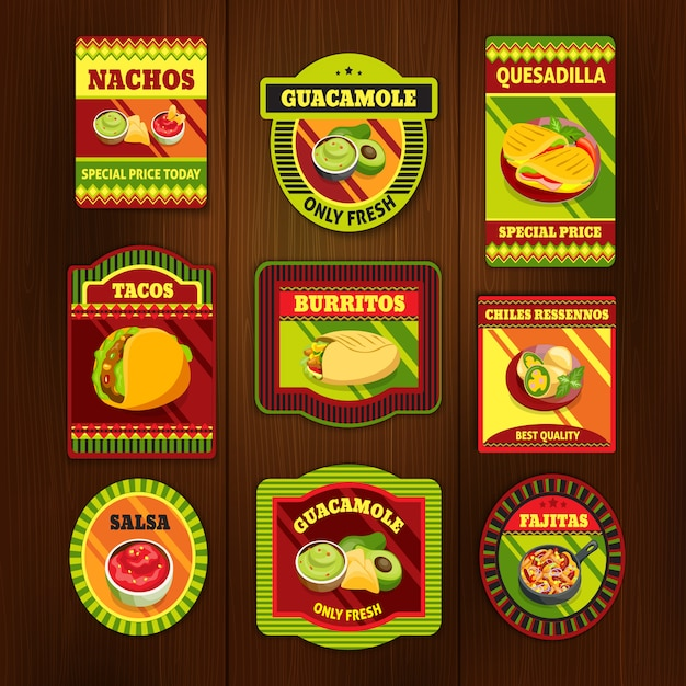 Mexican food bright colorful emblems Free Vector