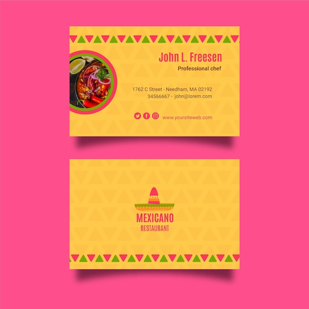 メキシコ料理-名刺テンプレート 無料ベクター