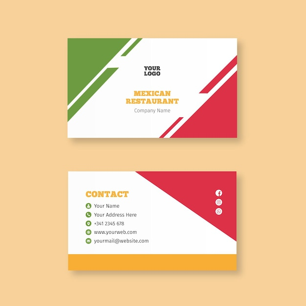 Mexican food business card template Free Vector