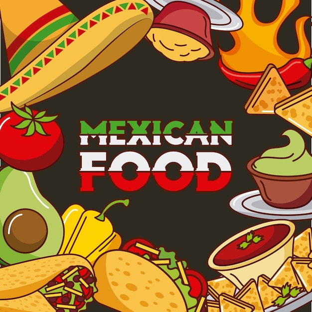 Mexican food card differents ingredients menu Premium Vector
