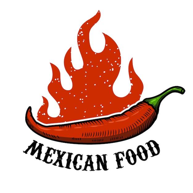 メキシコ料理。白い背景の上に火と唐辛子。図 Premiumベクター