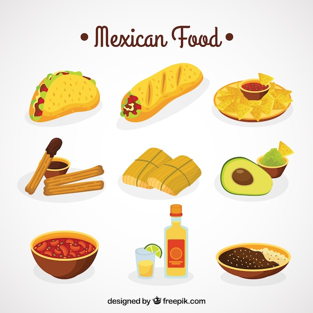 Mexican food collection Free Vector
