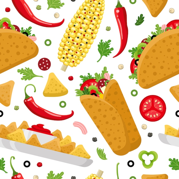 Mexican food color  seamless pattern Premium Vector