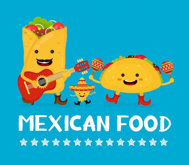 Mexican food creative card concept. vector modern flat style cartoon character illustration. Premium Vector