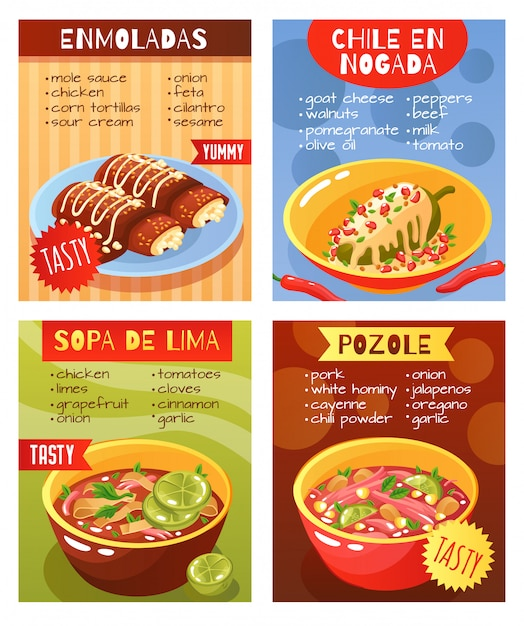 Mexican food dishes poster Free Vector