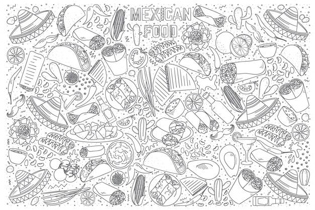 メキシコ料理の落書きセット Premiumベクター