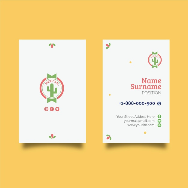 Mexican food double-sided businesscard v Premium Vector
