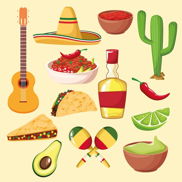 Mexican food and elements Premium Vector