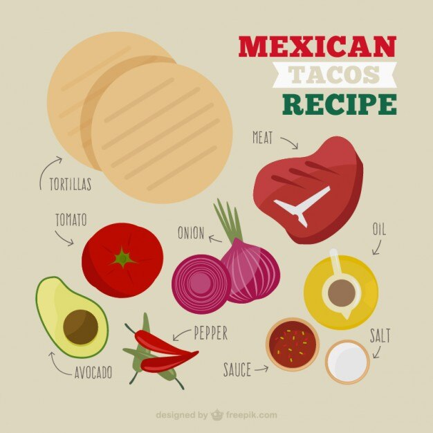 Mexican food elements Free Vector