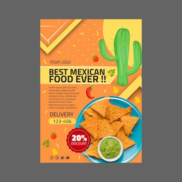 Шаблон флаера мексиканской кухни Бесплатные векторы